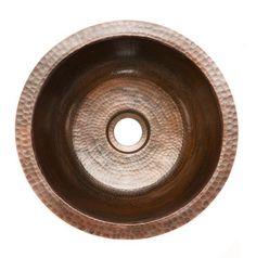 """14"""" x 14"""" Round Hammered Copper Bar Sink"""