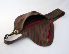 Sac de ceinture coton rayé vert rose vif violet moutarde
