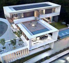 15 great ideas for home – Architektur - architecture house Revit Architecture, Modern Architecture House, Interior Architecture, Villa Design, Modern House Plans, Modern House Design, Modern Houses, Contemporary Houses, Contemporary Design