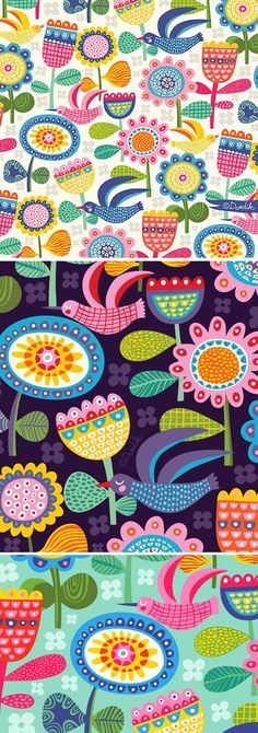 my scandinavian dream (orange you lucky!) is part of children Toys Illustration - A bit of an avian floral with a touch of Scandinavian to show you today Summer ran out on me but the colours are still here) Magazine Illustration, Bird Illustration, Pattern Illustration, Illustrations, Flower Pattern Design, Surface Pattern Design, Flower Patterns, Flower Designs, Folk Art Flowers