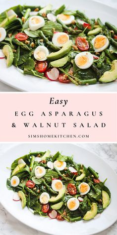 This delicious egg asparagus and walnut salad is filled with a variety of delicious flavours and textures. #salad #summersalad #eggsalad #healthy #asparagussalad #eggasparagusalad #walnutsalad @simshomekitchen   simshomekitchen.com