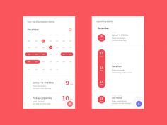Calendar interface for app. Web Design, App Ui Design, Interface Design, User Interface, Mobile Ui Design, Design Thinking, Calender App, To Do App, App Design Inspiration