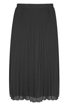 Primark - Falda a media pierna negra plisada 12e