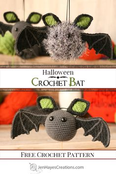 You're going to want to make a colony of these Crochet Bats to decorate your home for the Halloween season! The versatility of the crochet pattern makes it adjustable to a variety of skill levels as well! #crochetbat #freecrochetpattern #amigurumibat #batpattern