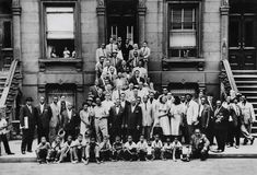 Harlem, New York for a one-of-a-kind group portrait consisting of some of the most influential figures in Jazz, including Art Blakey, Count Basie, Lester Young, Dizzy Gillespie, Thelonious Monk, Charles Mingus, Sonny Rollins, Mary Lou Williams, and Marian McPartland.