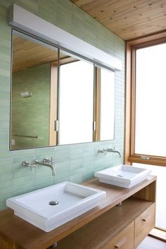 green and wood bathroom