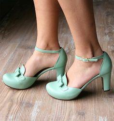 Mint green ankle strap vintage heels.