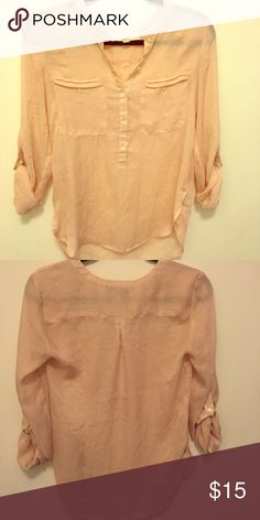 Ann Taylor LOFT Light Pink 3/4 Sleeve Blouse Wear to work or dinner with the parents. A little sheer so need to wear undershirt. Good condition. LOFT Tops Tees - Long Sleeve