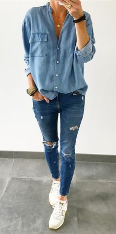 I love the denim on denim look and the top looks cute, comfy and different