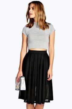 Allie Mesh Lined Midi Skater Skirt at boohoo.com