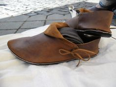 Western european medieval shoes from the 15th century.