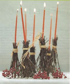 Halloween table brooms...just have to make sure & watch these carefully as they burn down, so they don't catch fire!