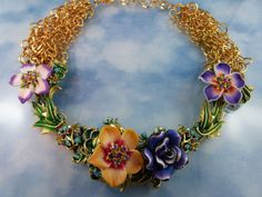 Designer Signed Jose & Maria Barrera Couture Statement Gold Plated Ceramic Floral Necklace