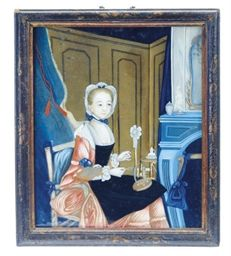 A CHINESE EXPORT REVERSE PAINTING ON GLASS OF A EUROPEAN WOMAN SPINNING THREAD,  LATE 18TH EARLY 19TH CENTURYhttp://www.christies.com/