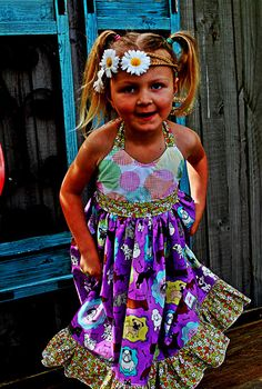 "Girls Day Dreamer Halter Dress w/ Ruffles Sizes 2 3 4 5 6 7 8  by Two Pink Flamingos ""Puppy Love"" on Etsy, $60.00 AUD"