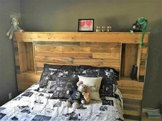 Pallet Headboard with outlets, Kimworeitbetter