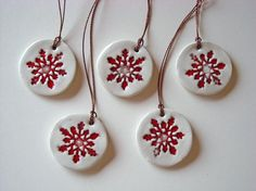 Ceramic christmas ornament red and white set of by Azulsupplies
