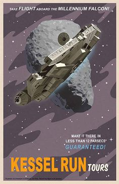 Vintage travel posters, Star Wars style. Or possibly, Star Wars posters vintage travel style. If Star Wars was set a long time ago in a galaxy far far away, surely it predates vintage????