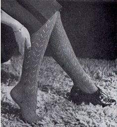 The Vintage Pattern Files: Knitting - Lace Stockings Vintage Knitting, Free Knitting, Knitting Socks, Knit Socks, Lace Knitting Patterns, Sewing Patterns, Knitting Ideas, Knitting Projects, Skirt Patterns