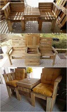 Check out with this wood pallet chairs and center table furniture for your house outdoor. Chairs are square in shape forms whereas the table has been set aside into the rectangular shape variations in the middle of it. It is being overall designed in majestic unique concepts that will bring an attractive look into your house outdoor.