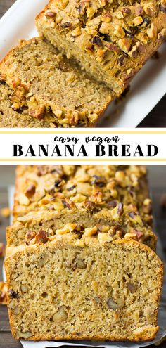 Easy Vegan Banana Bread recipe, made in 1 bowl! Add walnuts or chocolate chips. Easy Vegan Banana Bread recipe, made in 1 bowl! Add walnuts or chocolate chips. Best Vegan Banana Bread Recipe, Gluten Free Banana Bread, Make Banana Bread, Vegan Bread, Banana Bread Recipes, Banana Walnut Bread Vegan, Vegan Butter, Vegan Dessert Recipes, Vegan Sweets