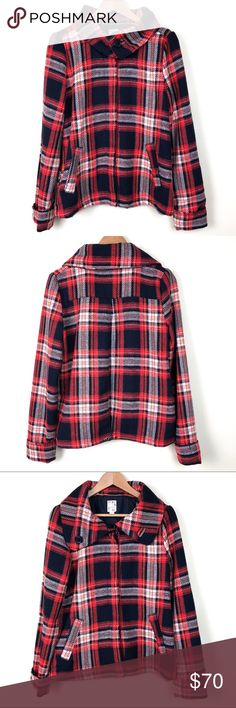 Roxy Red & Blue Plaid Wool Jacket Size Large Roxy Plaid Wool Jacket. Red & Blue. Size Large. Look crazy cute and stay super warm in this beautiful plaid  wool button down Roxy coat!  Such a fun Fall/Winter piece! 🍁 ❄️ Roxy Jackets & Coats