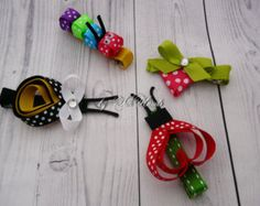 Ribbon sculpture hair clips bug & flower set flower by SilkHands