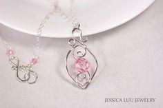 Pink Swarovski Crystal Necklace Sterling by JessicaLuuJewelry