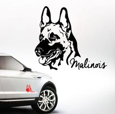 AWILPORT Auto Aufkleber MALINOIS Portrait Hund Hunde WILSIGNS Siviwonder