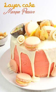 Layer cake mangue passion - Molly cake et couches de crémeux passion aux morceaux de mangue #anniversaire