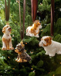 Christmas Tree Ornaments - Joy to the World Dog Blown Glass Ornaments