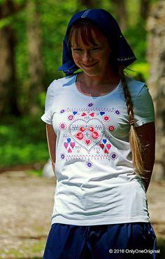 Dámske tričko  maľované, folk KUKULIENKA