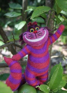 Nadel Felted Cheshire Cat - benutzerdefinierte Steinskulpturen für Sie