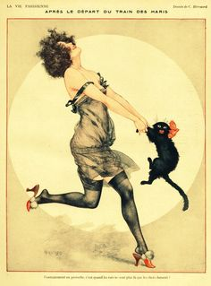 1923 La Vie Parisienne vintage illustration lady dancing with cat Art Deco Posters, Vintage Posters, Vintage Art, Dorm Posters, French Vintage, Hanging Posters, Funny Vintage Ads, Vintage Clocks, Vintage Prints