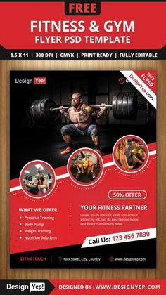 If you own a gym or fitness centre then this PSD flyer template is for you. You can use this attractive flyer to promote your fitness gym among more people. Poster Cars, Poster Sport, Poster Retro, Design Food, Gym Design, Flyer Design, Banner Design, Fitness Flyer, Fitness Gym