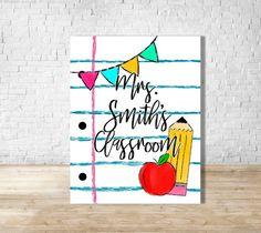 Teacher Door Hangers, Teacher Doors, Classroom Signs, Classroom Decor, Spanish Classroom, School Classroom, Dry Erase Board, Teacher Name Signs, School Signs
