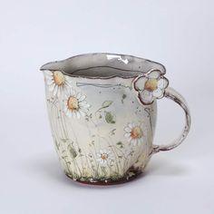 Delicate Floral Ceramics by Christine Zablocki & Sébastien Lopes Pottery Mugs, Ceramic Pottery, Pottery Art, Cerámica Ideas, Sculptures Céramiques, Cute Mugs, Pottery Studio, Ceramic Clay, Clay Creations