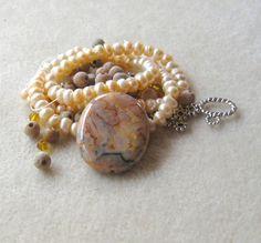 Crazy Lace Agate Pendant Freshwater Pearls by CatsBeadKitsandMore