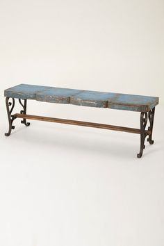 """- No two are exactly alike - Reclaimed wood, metal - Wipe with dry cloth - 21""""H, 64""""W, 15""""D - 21"""" seat - Imported"""
