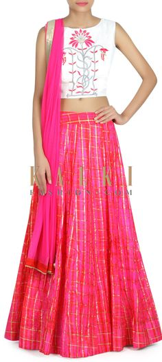 Buy this Pink lehenga with resham embroidered blouse only on Kalki