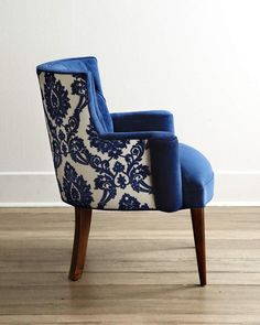 Shop Bright Tiffany Damask Chair from Haute House at Horchow, where you'll find new lower shipping on hundreds of home furnishings and gifts. Chair Upholstery, Upholstered Chairs, Tufted Chair, Chair Fabric, Chair Pads, Diy Chair, Chair And Ottoman, Funky Furniture, Furniture Design