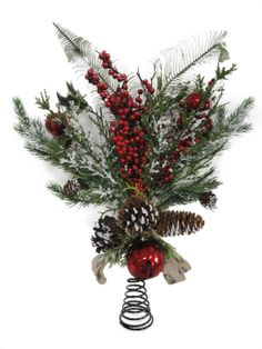 Holiday Inspirations Berries Foliage Tree Topper, , hi-res