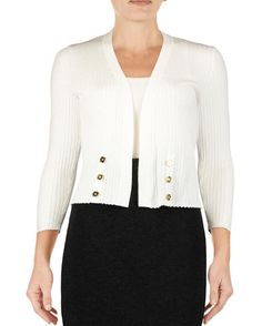 Open Front Rib Knit Cardigan with Button Trim - 1