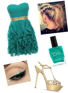 """""""Gold & Teal."""" by selenawava ❤ liked on Polyvore"""