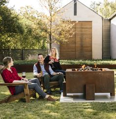 It's almost time to enjoy the cool autumn weather. Get your backyard ready to entertain friends and family around the warm glow of a fire pit. Steel Fire Pit, Fire Pits, Outdoor Spaces, Outdoor Living, Modern Fire Pit, Outside Bars, Weathering Steel, Modern Rustic, Country Decor