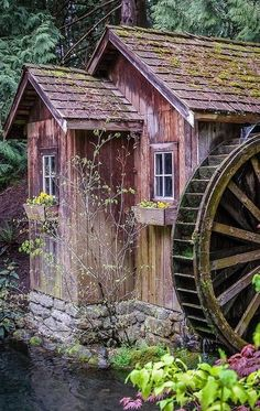 Old Grist Mill Garden Waterwheel Old Grist Mill, Old Windmills, Water Powers, Water Mill, Country Scenes, Old Barns, Le Moulin, Old Buildings, Covered Bridges