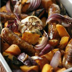 Oven roasted sausage, onion, butternut squash, garlic