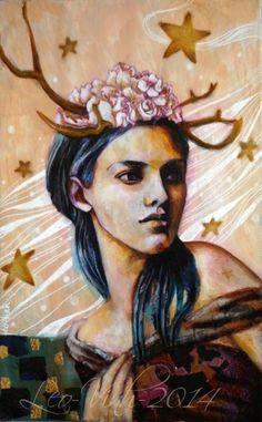 mon azalée- Between Earth and Sky- mixed media painting on canvas- Leo-Vinh- 2014
