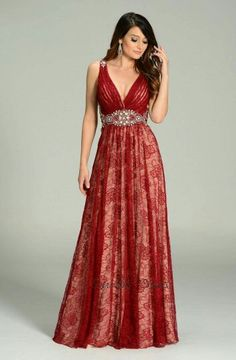 84e3643590580 Elegant Full Length Prom Lace Dress has Deep V Neckline with Ruched Bust  featuring Rhinestones Embellished Waistline and Sheer Back