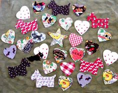 LOT 30 IRON-ON READY APPLIQUE HEARTS SCOTTY DOGS MARY ENGELBREIT FABRIC